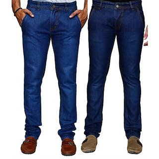 Mens Blue Color Stretchable Jeans - Combo of 2