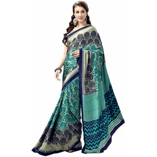 Snapshopees Designer Printed Daily Wear Turkey Chiffon Saree(Blue)