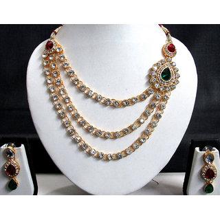 One Side Big Brooch 3 Line Necklace Set