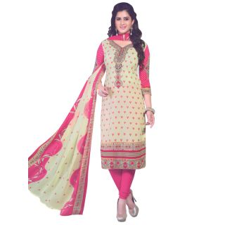 Floral White Colour Crepe Printed Salwar Suit