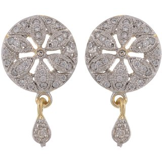 NNITS White and Gold Base Metal Jhumki Earrings for Women (ADER0140190-3)