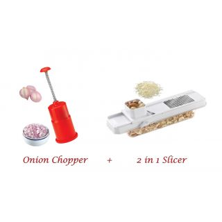 Combo Of Onion Chopper & 2 In 1 Slicer - 10 MultiColor By Sanghohub