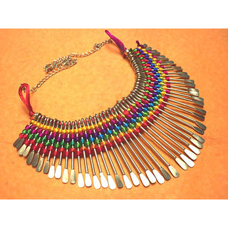 Tibettan Handmade Tribal Fabric  Metal Beautiful Golden Necklace Jewel NEK011