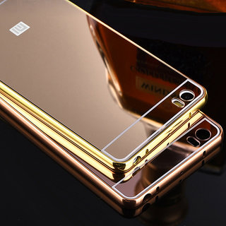LUXURY METAL FRAME BUMPER+MIRROR BACK GOLD CASE COVER FOR REDMI 2S