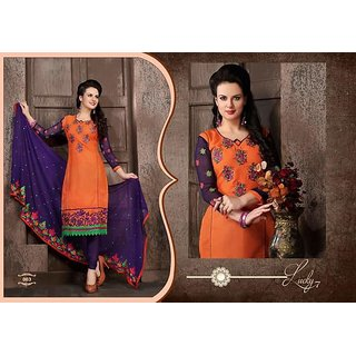 Vastra Suite Material Combination of Orange and Purple next to Chiffon Duppata