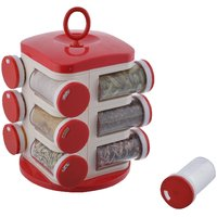 Jony Rotating Spice Rack (masala rack) Red-White Transparent Jony Jar Pop Up Rotating Rack Storage With- 12 Piece set