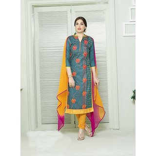 Fabliva Olive Green  Multi Embroidered Cotton Straight Suit