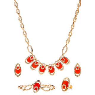 Ruhaani Jewels Alloy Jewel Set (Orange)
