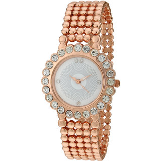 Sale Funda Stylish Rose Gold Analog White Dial Womens Wrist Watch CWW006