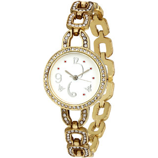 Sale Funda Stylish Golden Analog White Dial Womens Wrist Watch CWW0011