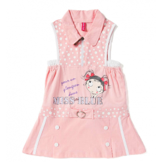Kids Baby Girls Casual Dress- Pink Miss Blue Printed Frock