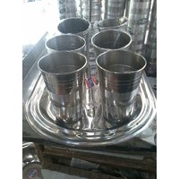 Designer Silver Touch Steel Lemon Set With Tray & 6  Glasses