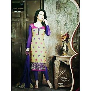 Vastra Present tan,Purple Colour Embroidery unstitched Dress Material, Purple Colour cotton Bottom  Chiffon Dupatta