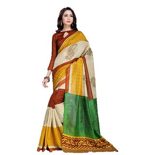 Snapshopees Designer Printed Daily Wear Green silk Saree(Orange)