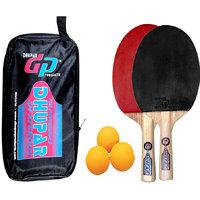 DHUPAR DEXTEROUS TABLE TENNIS BAT (SET OF 2) WITH BALLS