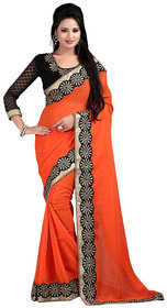 Bhuwal Fashion Orange Chiffon Embroidered Saree With Blouse