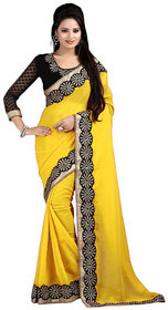 Bhuwal Fashion Yellow Chiffon Embroidered Saree With Blouse