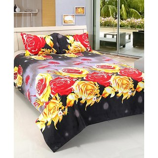 Home Castle Glamorous 3D Double Bedsheet With 2 Pillow Covers Complementary
