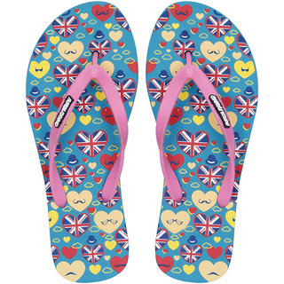 Fashion Forward London WomenS Green-Pink Flip Flops 6 Uk