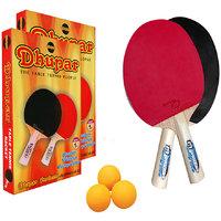 DHUPAR FINE TABLE TENNIS BAT (SET OF 2) WITH BALLS