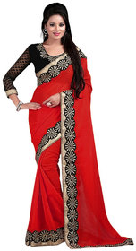 Bhuwal Fashion Red Chiffon Embroidered Saree With Blouse