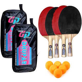DHUPAR DEXTEROUS TABLE TENNIS BAT (SET OF 4) WITH BALLS