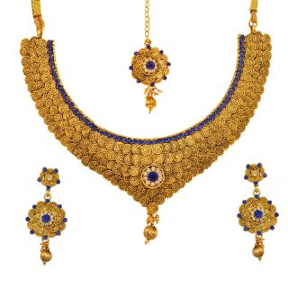 Bollywood Indian Stylish Designer Gemstone Necklace Earrings Maang Tikka Jewellery Set