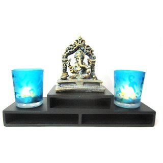 Temple Ganesha on Temple Tray with Blue Votives