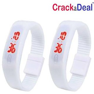 CrackaDeal  Pack of 2  Stylish White Led Digital Watch - For Boys, Men, Women, Girls, Couple