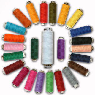PERFECT SEWING THREADS 25 MULTI SPOOLS 150mts SPUN POLYESTER SPOOL