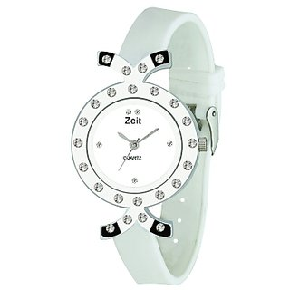 Zeit while PU analog watch for girls