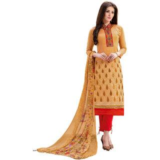Nikki Fab Orange Chanderi Dress Material