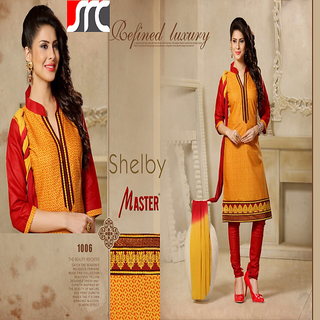 Vastra Present Beautiful Yellow Designed Dress Material Unstitched