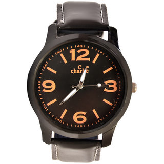 C Charlie Round dial black leather strap mens watch 09