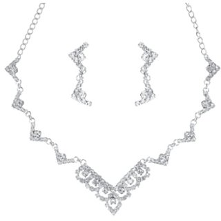 Kriaa Alloy Silver Ethnic Necklace Set -1104307