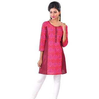 Navrachna Pink Plain Cotton Stitched Kurti