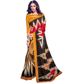 S V Inc Brown Art Silk Printed Saree With Blouse