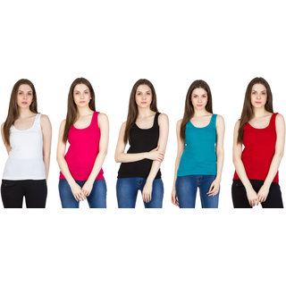 SMEXY Womens Cotton Lycra Strap Camisole (White and Pink and Black and Ocean Blue and Red and Pack of 5)