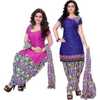 Khushali Multicolor Printed Crepe Salwar Suit Material (Unstitched)
