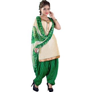 Khushali Patiyala Dress Material (Beige and Green and Black)