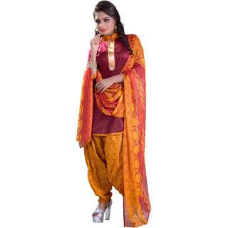 Khushali Patiyala Dress Material (Maroon and Yellow)