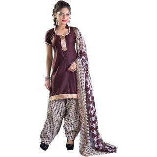 Khushali Patiyala Dress Material (Brown and White and Multi)