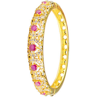 Glitters 22 Ct Gold Plated Partywear  Ruby and CZ Bangle Kada for Women