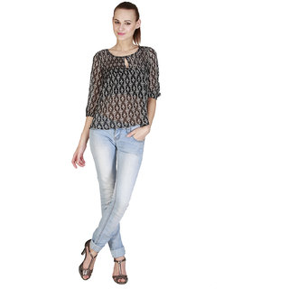 Add to style Black Printed Polyester Top