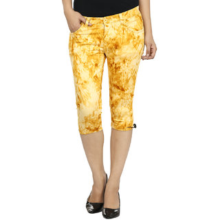 FASHION CULT Yellow Cotton Lycra Capris
