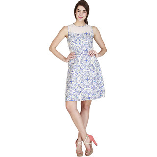 Add to style Blue and White Printed Sleeveless Viscose Dress