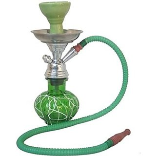 Desi Karigar Green Stylish 12 inch Glass Hookah With Coal Pack And Flavor