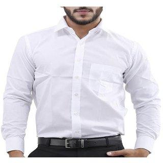Men Plain Full Saleeve White Formal Shirt