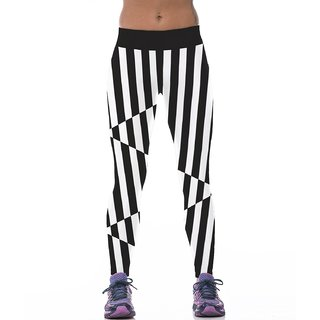 Classic Black And White Stripes Design Printed Polyester Multicolor