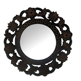 Onlineshoppee Wooden Antique With Handicraft Work Fancy Design Mirror Frame Size(LxBxH-11x1x11) Inch
